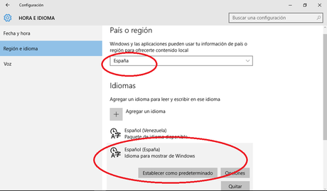 Windows 10 - Region e idioma