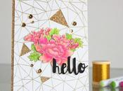 "Gold pink ""hello"" card"