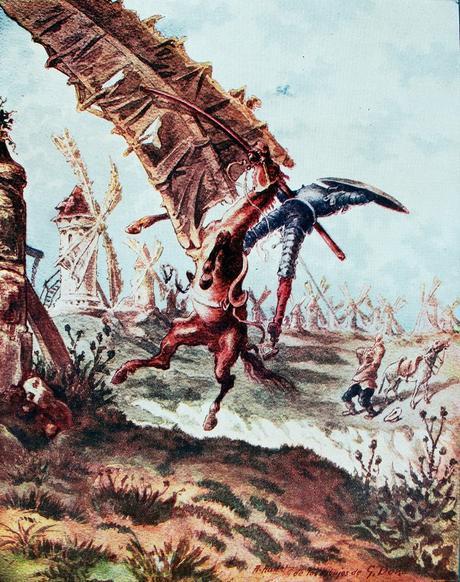 Don Quijote y los molinos de viento. Grabado de Gustave Doré. 1863