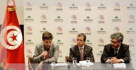 Conferencia de prensa de LatinArab. De izquierda a derecha, el director artístico Christian Mouroux, el embajador de Túnez Hichem Bayoudh y el director general Edgardo Bechara El Khoury.