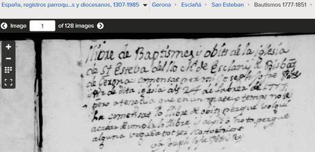 libro bautismos de Esclanya, Gerona