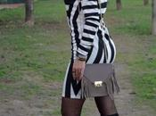 Tall boots striped dress