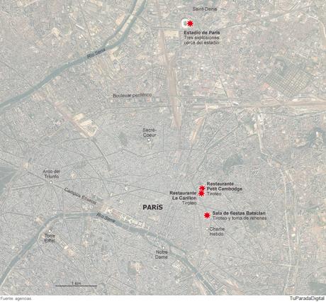 Lugar de los ataques en Paris