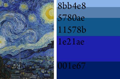paleta de color Noche Estrellada Van Gogh, significado del azul
