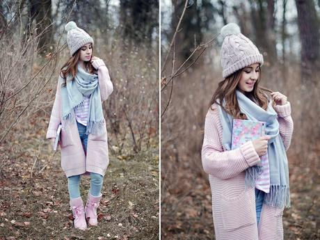 Martyna Piotrowska - Sheinside Gray Scarf, Dresslink Pink Mukuluks - Winter is coming.