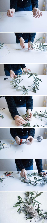 corona navideña olivo diy