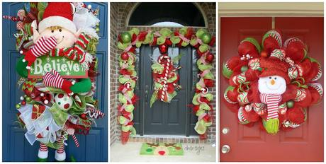 C mo decorar en navidad con guirnaldas de mallas paperblog for Decoraciones navidenas 2016 para puertas