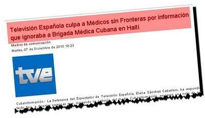Televisión Española culpa a Médicos sin Fronteras por información que ignoraba a Brigada Médica Cubana en Haití