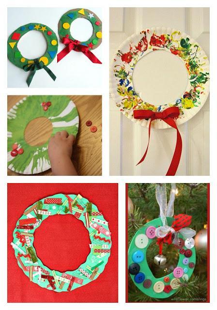 coronas navideas para hacer con nios