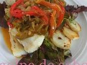 Bacalao confitado agridulce pimiento cebolla