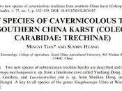 nuevas especies carábidos cuevas China