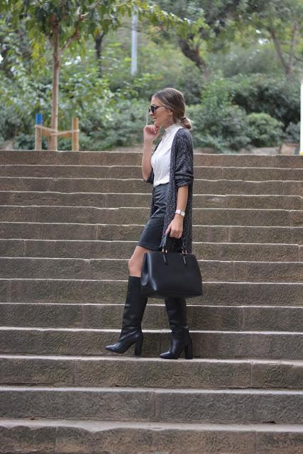 OFFICE LOOK: Leather Skirt