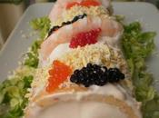 Brazo salado pimiento piquillo relleno pescado marisco salsa rosa