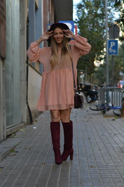 SALMON BABYDOLL DRESS