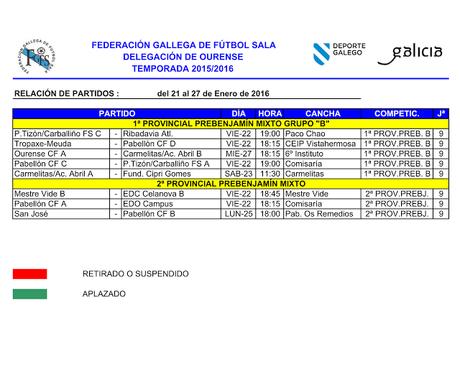 Horarios fútbol y sala base en Ourense (del 21 al 27 Enero 2016)