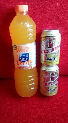 Font Vella Levité Naranja sin gas y Cruzcampo Radler con limón