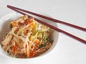 Pollo sésamo verduras fideos chinos