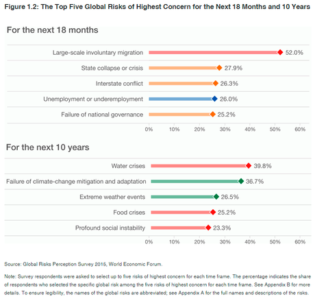 The Top Five Global Risks of Highest Concern for the Next 18 Months and 10 Years. Fuente: The Global Risks Report 2016, World Economic Forum. Blog Elcano