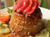 Flan chocolate fresas puré kiwi aroma aceite oliva virgen extra