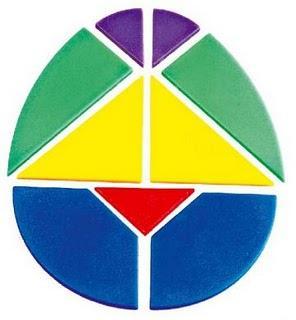 El tangram ovalado y el tangram del corazón.