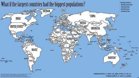 El mundo organizado por densidad de población