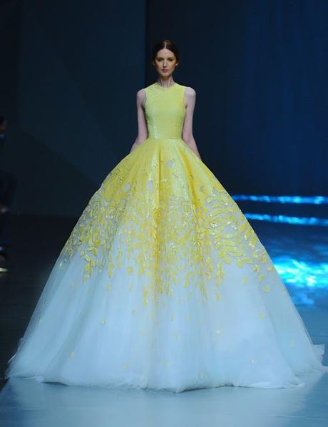 vestidos de novia blanco y amarillo