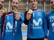 Pola, Rivillos, Ortiz Jesús Herrero lucen medallas campeones Europa regreso entramientos Movistar Inter