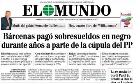 portada El Mundo 18 enero 2013 Barcenas, dinero negro y el PP