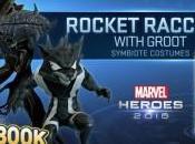 Marvel Heroes 2016. Groot Mapache Cohete reciben trajes simbionte
