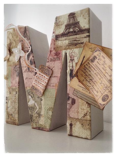 Letras decoradas con decopauge y scrap paperblog - Letras decoradas scrap ...