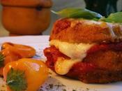 Stacks berenjenas rebozadas mozzarella fresca salsa marinara