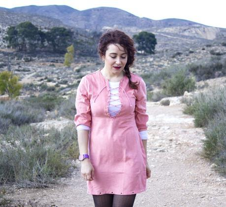 Pink Lace up Dress and Warm Printed Coat