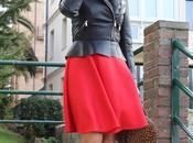 looks falda roja collar dresslink