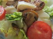 Ensalada templada bacalao ahumado, champiñones pasta