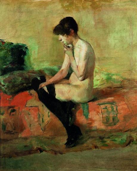 Henri de Toulouse-Lautrec, Étude de nu, femme assise sur un divan, 1882