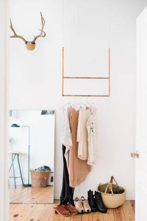 8. DIY copper coat rack. Combines perfectly with nude and pastel tones.