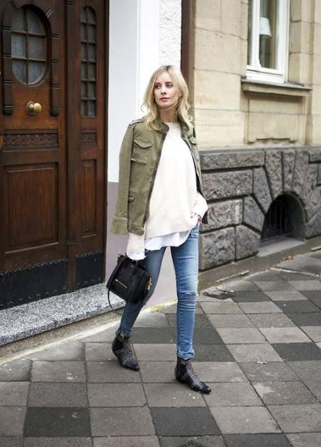 STREET STYLE INSPIRATION; ARMY GREEN JACKET.-