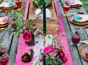 Camino mesa para bodas flores