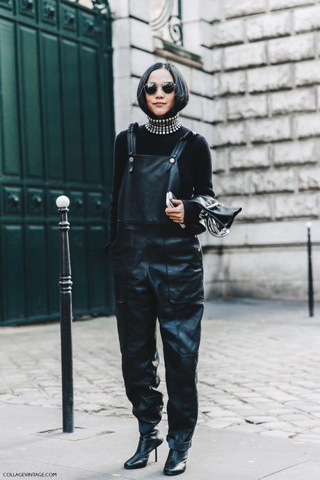 PFW-Paris_Fashion_Week_Fall_2016-Street_Style-Collage_Vintage-yoyo_Cao-Leather_Jumpsuit-1