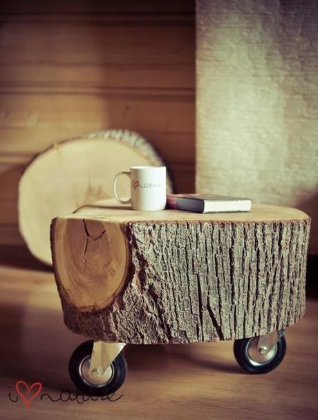 Mesas con troncos de madera - Paperblog
