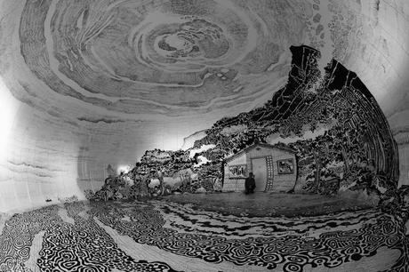 Un Dibujo En Blanco Y Negro De 360 Grados De Un Paisaje Japones
