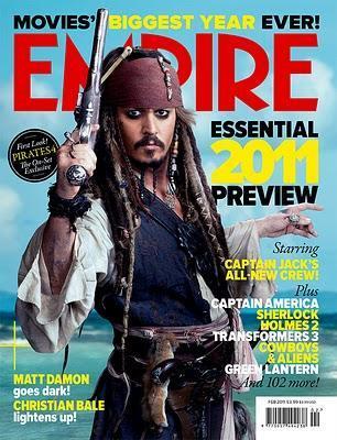 Johnny Depp como el capitán Jack Sparrow en la portada de Empire
