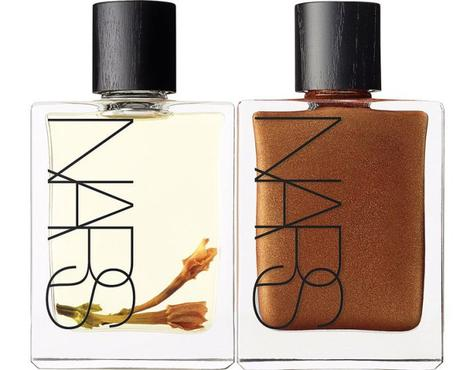 Nars Monoi Body Glow and Monoi Body Glow II on white