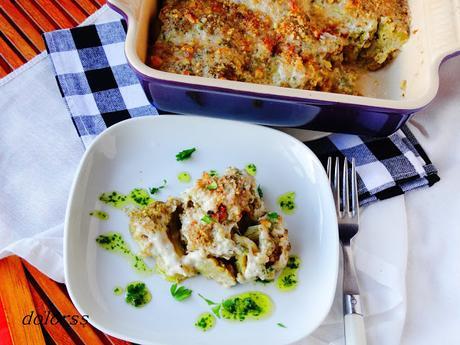 Brócoli  con salsa de almendras , nueces y tomates secos gratinado