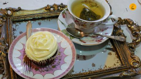 Infusión Harney & Sons y cupcake red velvet en Sugar Factory Madrid