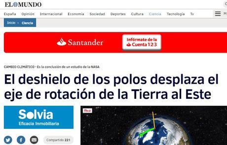 EL CAMBIO CLIMÁTICO INCIDE EN EL DESPLAZAMIENTO DEL EJE DE ROTACIÓN DE LA TIERRA
