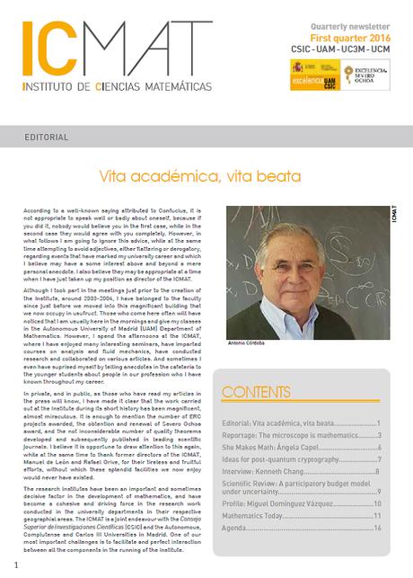 Ya está disponible el duodécimo ICMAT newsletter