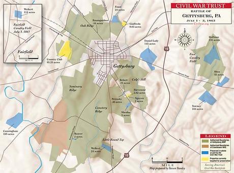 mapa batalla gettysburg