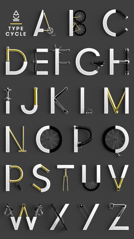 Type Cycle, el alfabeto ciclista de Marcel Piekarsky
