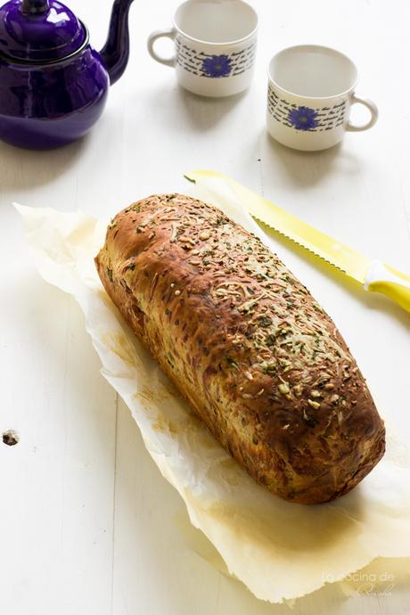 Garlic, herbs and cheese bread #BreadBakers